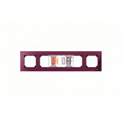 Рамка пятерная, для горизон./вертикал. монтажа Merten M-Elegance, рубин MTN4050-3206
