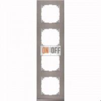 Рамка 4 местная Merten M-Pure Decor нержавеющая сталь (алюминий) MTN4040-3646