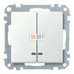 Выключатель двухклавишный с подсветкой, 10 А / 250 В~ MTN3135-0000 - MTN3420-0319