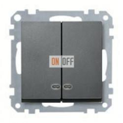 Выключатель двухклавишный с подсветкой, 10 А / 250 В~ MTN3135-0000 - MTN3420-0414
