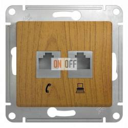 Розетка двойная компьюерная +  телефонна, Schneider Glossa дуб GSL000585