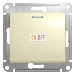 Выключатель одноклавишный проходной (вкл/выкл из 2-мест) с подсветкой Schneider Glossa бежевый GSL000263