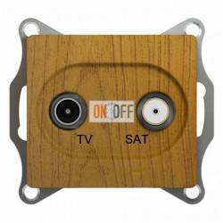 Розетка телевизионная и спутниковая проходная, Schneider Glossa дуб GSL000598