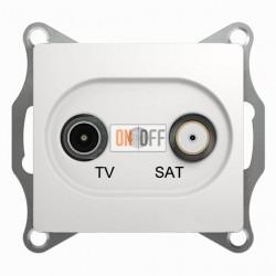 Розетка телевизионная и спутниковая проходная Schneider Glossa белый GSL000198