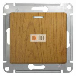Выключатель одноклавишный проходной (вкл/выкл из 2-мест) с подсветкой, Schneider Glossa дуб GSL000563