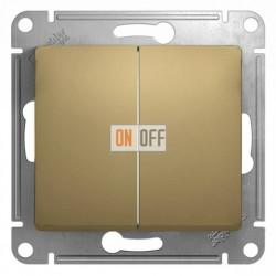 Выключатель двухклавишный, проходной (вкл/выкл с 2-х мест, Schneider Glossa титан GSL000465