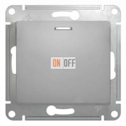 Выключатель одноклавишный проходной (вкл/выкл из 2-мест) с подсветкой Schneider Glossa алюминий GSL000363