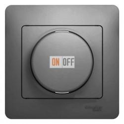 Светорегулятор (диммер) поворотно нажимной универсальный от 40 до 600 Вт. для ламп накаливания и галогенных ламп и трансформаторов, Schneider Glossa алюминий GSL000336
