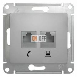 Розетка двойная компьюерная +  телефонна, Schneider Glossa алюминий GSL000385