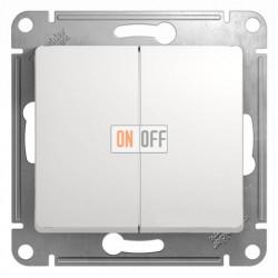 Выключатель двухклавишный, проходной (вкл/выкл с 2-х мест) Schneider Glossa белый GSL000165