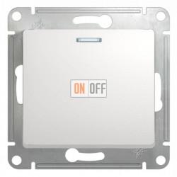 Выключатель одноклавишный проходной (вкл/выкл из 2-мест) с подсветкой Schneider Glossa белый GSL000163
