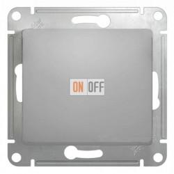 Выключатель одноклавишный проходной (вкл/выкл из 2-мест), Schneider Glossa алюминий GSL000361