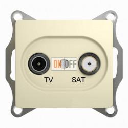 Розетка телевизионная и спутниковая проходная Schneider Glossa бежевый GSL000298