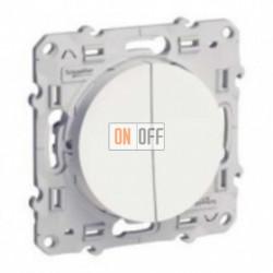 Двуклавишный выключатель 10А  Schneider Odace белый S52R211