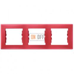 Рамка трехместная горизонтальная Schneider Sedna (красный) SDN5800541