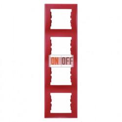 Рамка четырехместная вертикальная Schneider Sedna (красный) SDN5802041