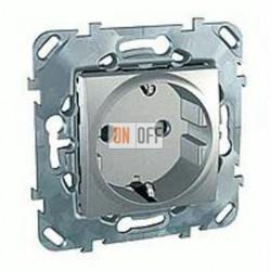 Розетка с заземляющими контактами 16 А / 250 В~ с защитой от детей Schneider Unica алюминий MGU5.037.30ZD