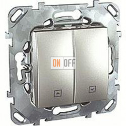 Выключатель управления жалюзи клавишный, 10 А / 250 В~ Schneider Unica алюминий MGU5.208.30ZD