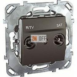 Розетка телевизионная оконечная TV SAT FM, диапазон частот от 4 до 2400 MГц Schneider Unica графит MGU5.455.12ZD