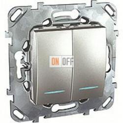 Выключатель двухклавишный проходной (вкл/выкл с 2-х мест) с подсветкой, 10 А / 250 В~ Schneider Unica алюминий MGU5.0303.30NZD