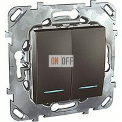 Выключатель двухклавишный проходной (вкл/выкл с 2-х мест) с подсветкой, 10 А / 250 В~ Schneider Unica графит MGU5.0303.12NZD