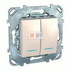 Выключатель двухклавишный с подсветкой, 10 А / 250 В~ Schneider Unica кремовый MGU5.0101.25NZD