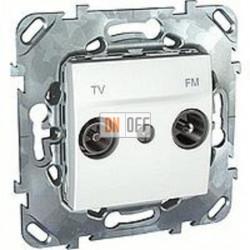 Розетка телевизионная проходная TV FM, диапазон частот от 4 до 2400 MГц  Schneider Unica белый MGU5.453.18ZD