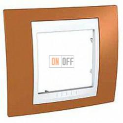 Рамка одинарная Schneider Unica Хамелеон оранжевый-белый MGU6.002.869