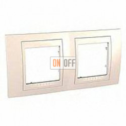 Рамка двойная, для горизонт. монтажа Schneider Unica Хамелеон кремовый глянцевый MGU6.004.25