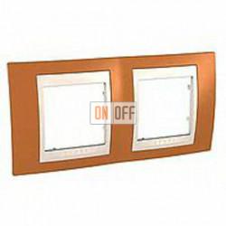 Рамка двойная, для горизонт. монтажа Schneider Unica Хамелеон оранжевый-бежевый MGU6.004.569