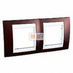 Рамка двойная, для горизонт. монтажа Schneider Unica Хамелеон терракотовый-белый MGU6.004.851