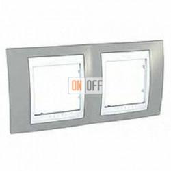 Рамка двойная, для горизонт. монтажа Schneider Unica Хамелеон серый-белый MGU6.004.865