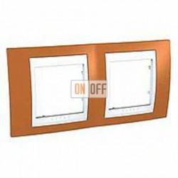 Рамка двойная, для горизонт. монтажа Schneider Unica Хамелеон оранжевый-белый MGU6.004.869