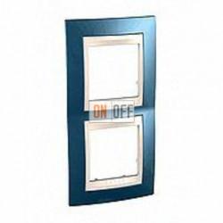 Рамка двойная, для вертик. монтажа Schneider Unica Хамелеон голубой лед-бежевый MGU6.004V.554