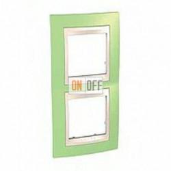 Рамка двойная, для вертик. монтажа Schneider Unica Хамелеон зеленое яблоко-бежевый MGU6.004V.563
