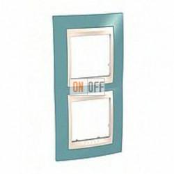 Рамка двойная, для вертик. монтажа Schneider Unica Хамелеон синий-бежевый MGU6.004V.573