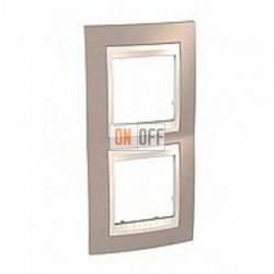 Рамка двойная, для вертик. монтажа Schneider Unica Хамелеон коричневый-бежевый MGU6.004V.574