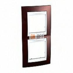 Рамка двойная, для вертик. монтажа Schneider Unica Хамелеон терракотовый-белый MGU6.004V.851