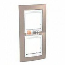 Рамка двойная, для вертик. монтажа Schneider Unica Хамелеон коричневый-белый MGU6.004V.874