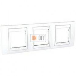 Рамка тройная, для горизонт. монтажа Schneider Unica Хамелеон белый MGU6.006.18