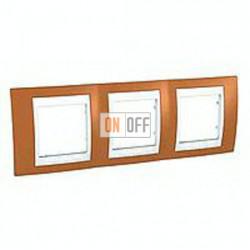 Рамка тройная, для горизонт. монтажа Schneider Unica Хамелеон оранжевый-белый MGU6.006.869