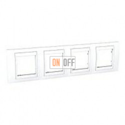 Рамка четверная, для горизонт. монтажа Schneider Unica Хамелеон белый MGU6.008.18