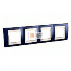 Рамка четверная, для горизонт. монтажа Schneider Unica Хамелеон индиго-бежевый MGU6.008.542