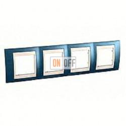 Рамка четверная, для горизонт. монтажа Schneider Unica Хамелеон голубой лед-бежевый MGU6.008.554