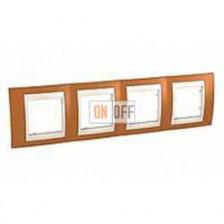 Рамка четверная, для горизонт. монтажа Schneider Unica Хамелеон оранжевый-бежевый MGU6.008.569