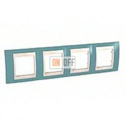 Рамка четверная, для горизонт. монтажа Schneider Unica Хамелеон синий-бежевый MGU6.008.573