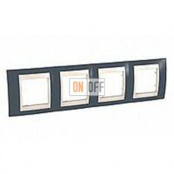 Рамка четверная, для горизонт. монтажа Schneider Unica Хамелеон серозеленый-бежевый MGU6.008.577