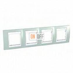 Рамка четверная, для горизонт. монтажа Schneider Unica Хамелеон морская волна-белый MGU6.008.870