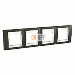 Рамка четверная, для горизонт. монтажа Schneider Unica Хамелеон какао-белый MGU6.008.871