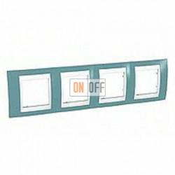 Рамка четверная, для горизонт. монтажа Schneider Unica Хамелеон синий-белый MGU6.008.873
